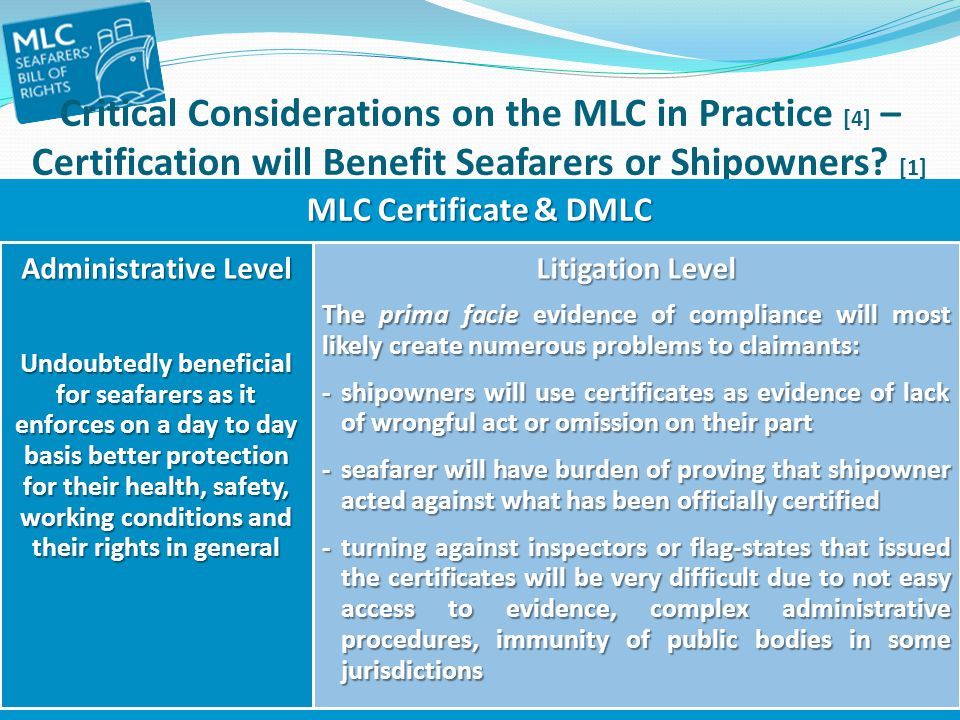Critical Considerations on the MLC in Practice [4] – Certification will Benefit Seafarers or Shipowners [1]